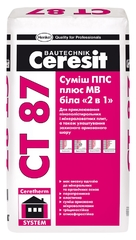"""Клей для теплоизоляции ППС+МВ Ceresit СТ87 белый """"2 в 1"""" 25кг"""